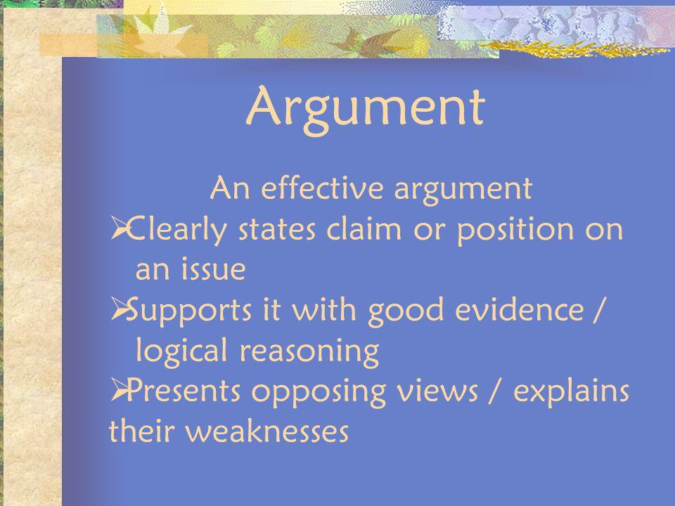 Argument An effective argument