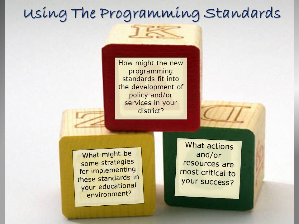 Using The Programming Standards