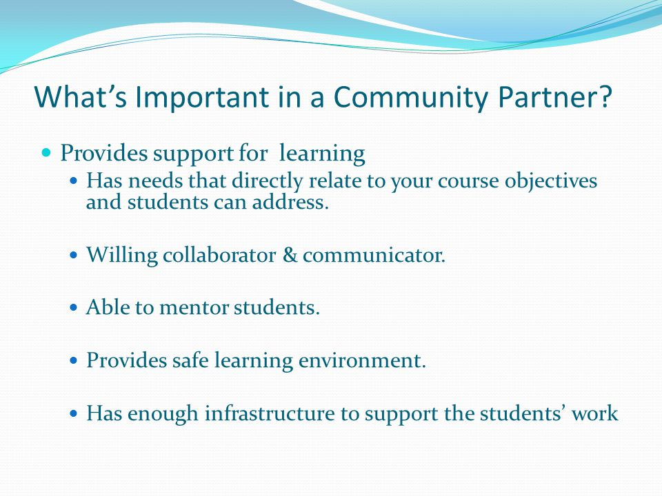 What's Important in a Community Partner