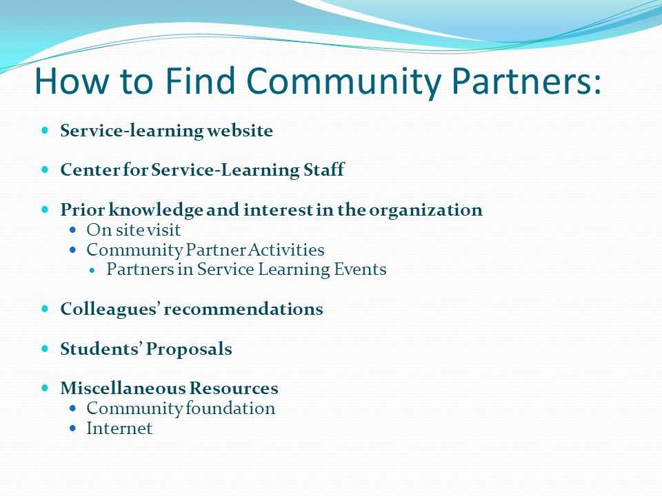 How to Find Community Partners: