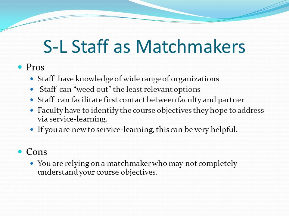 S-L Staff as Matchmakers