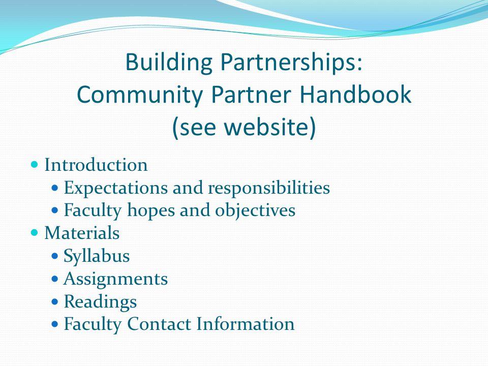 Building Partnerships: Community Partner Handbook (see website)