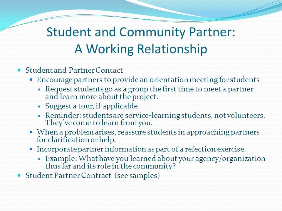 Student and Community Partner: A Working Relationship