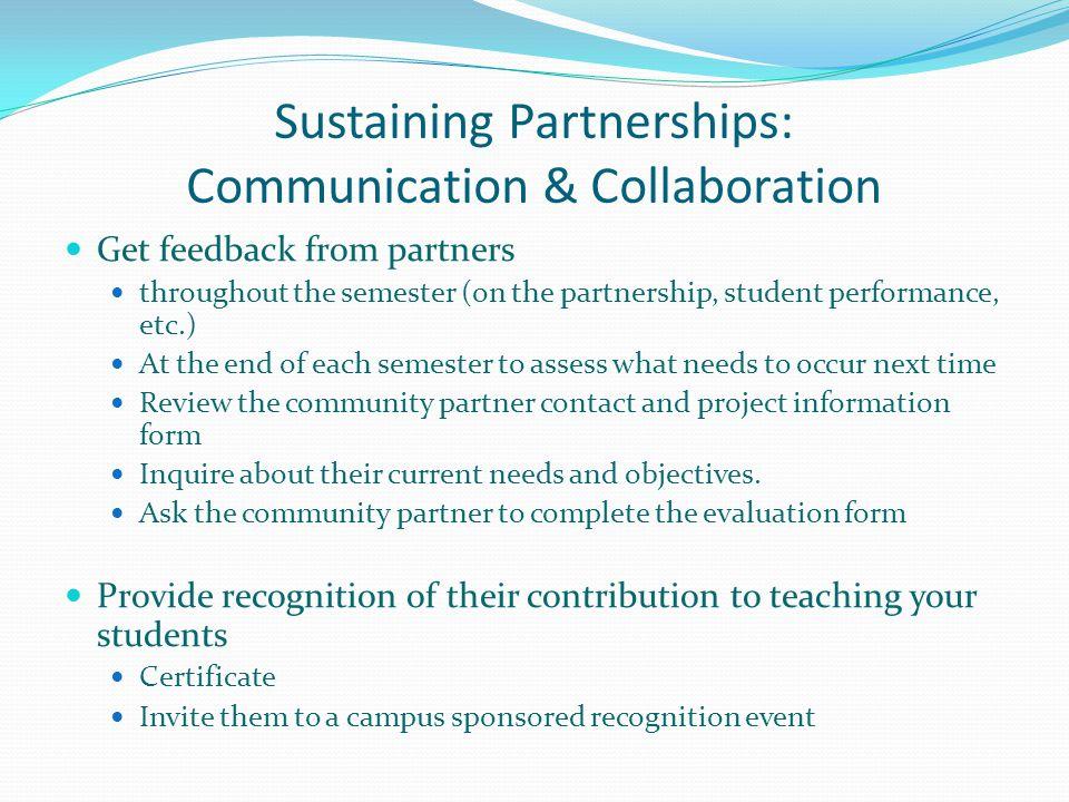 Sustaining Partnerships: Communication & Collaboration