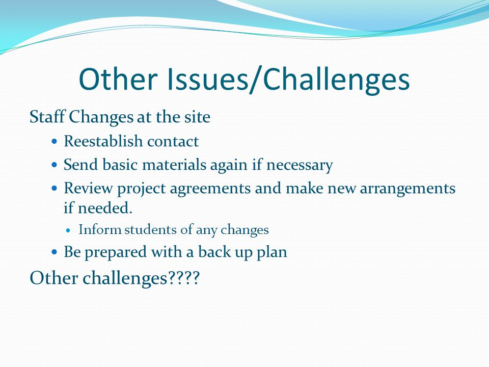 Other Issues/Challenges