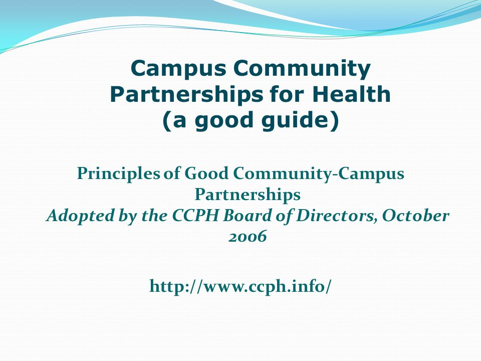 Campus Community Partnerships for Health (a good guide)