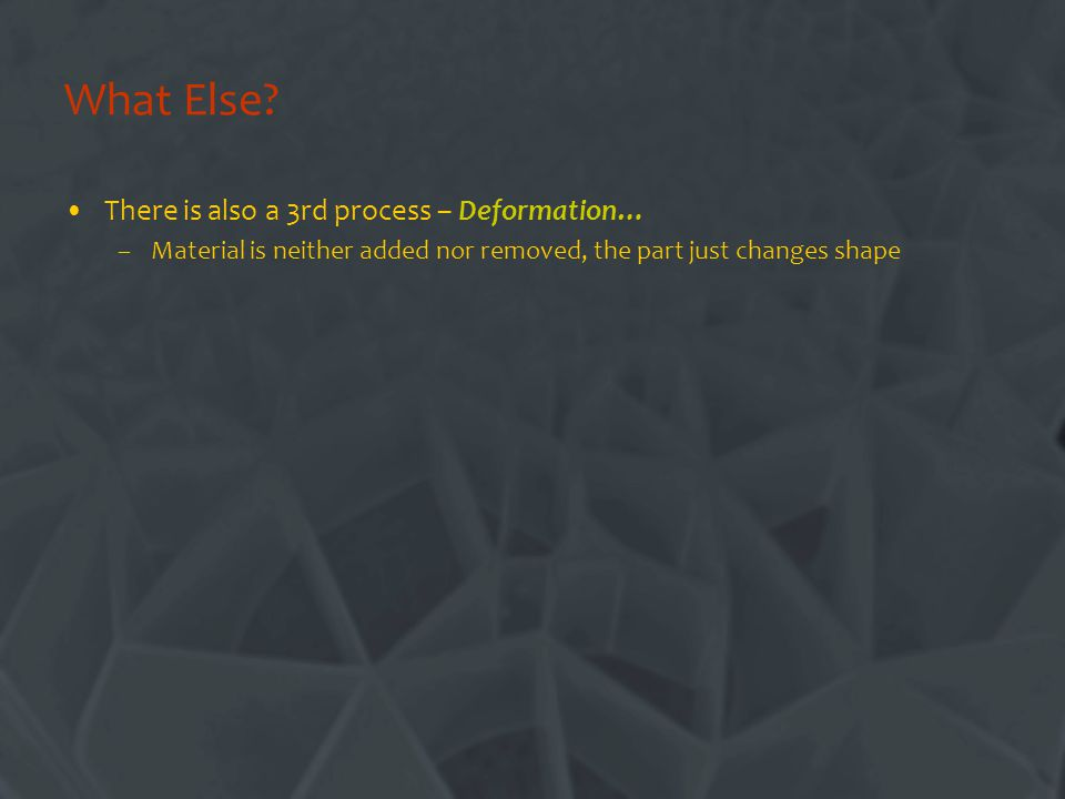 What Else There is also a 3rd process – Deformation…