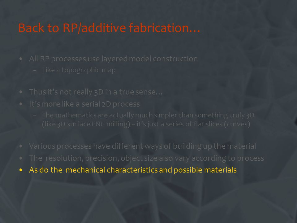 Back to RP/additive fabrication…