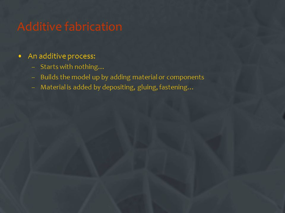 Additive fabrication An additive process: Starts with nothing…