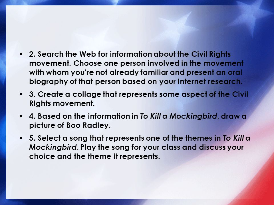 2. Search the Web for information about the Civil Rights movement