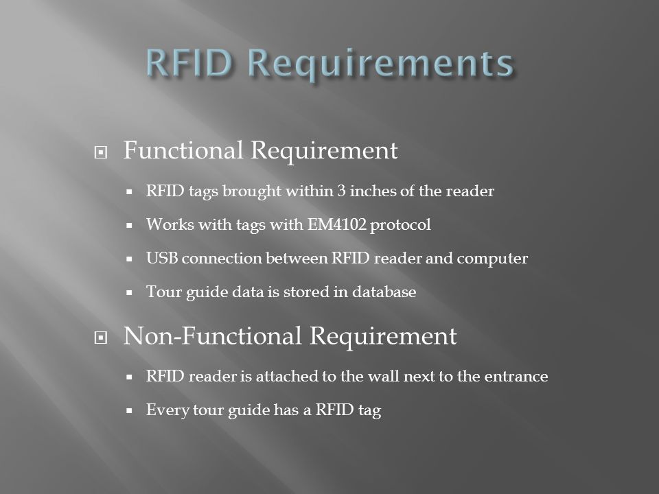 RFID Requirements Functional Requirement Non-Functional Requirement