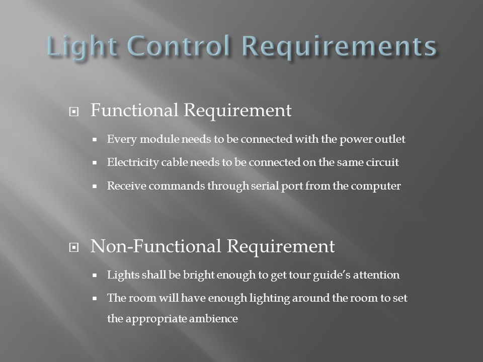 Light Control Requirements
