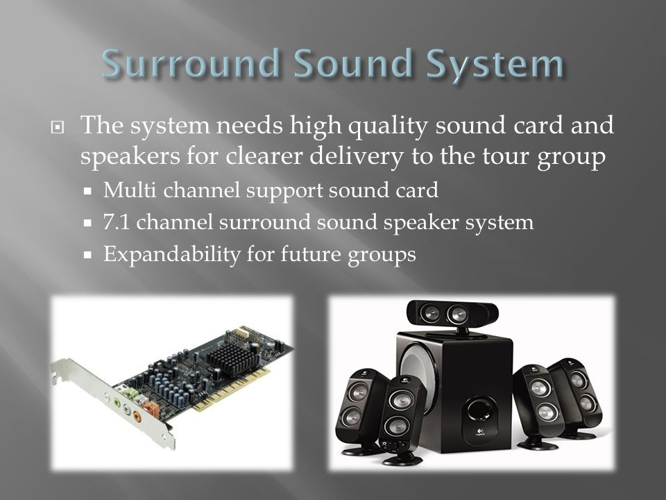 Surround Sound System The system needs high quality sound card and speakers for clearer delivery to the tour group.