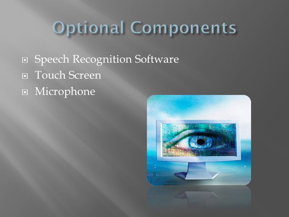 Optional Components Speech Recognition Software Touch Screen