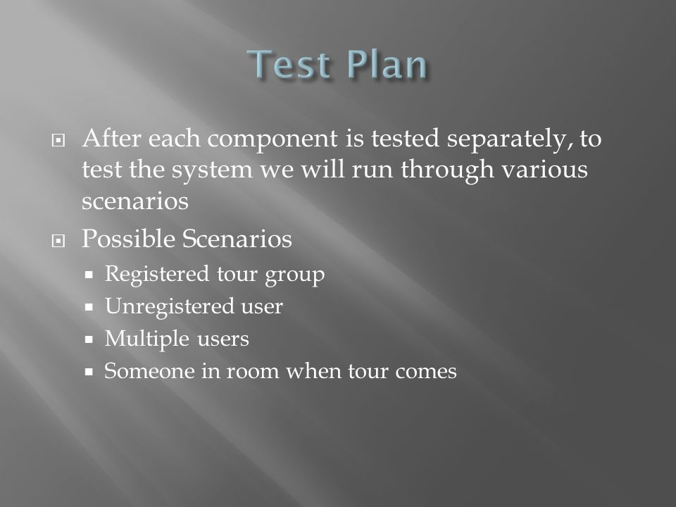Test Plan After each component is tested separately, to test the system we will run through various scenarios.