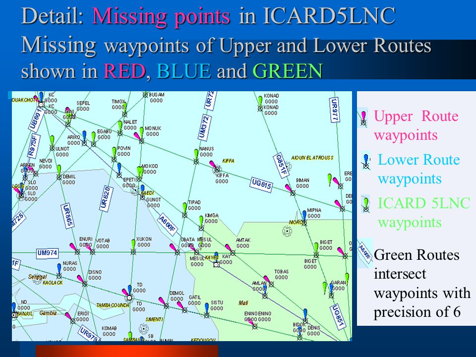 Detail: Missing points in ICARD5LNC Missing waypoints of Upper and Lower Routes shown in RED, BLUE and GREEN