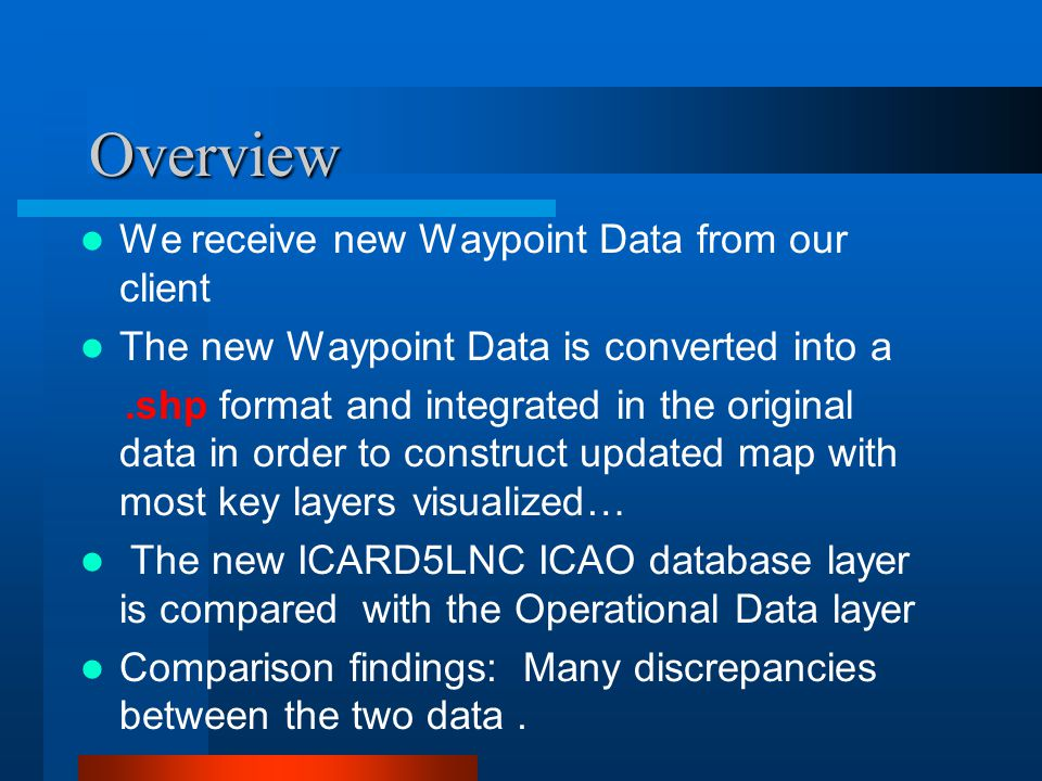 Overview We receive new Waypoint Data from our client