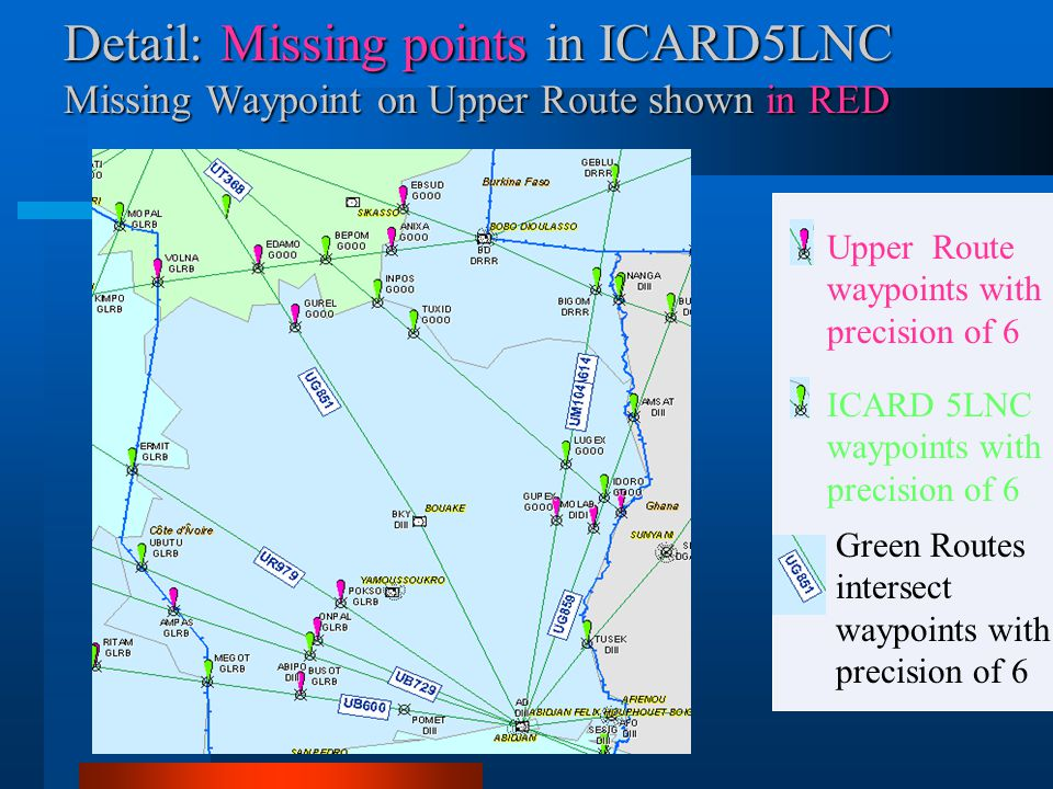 Detail: Missing points in ICARD5LNC Missing Waypoint on Upper Route shown in RED