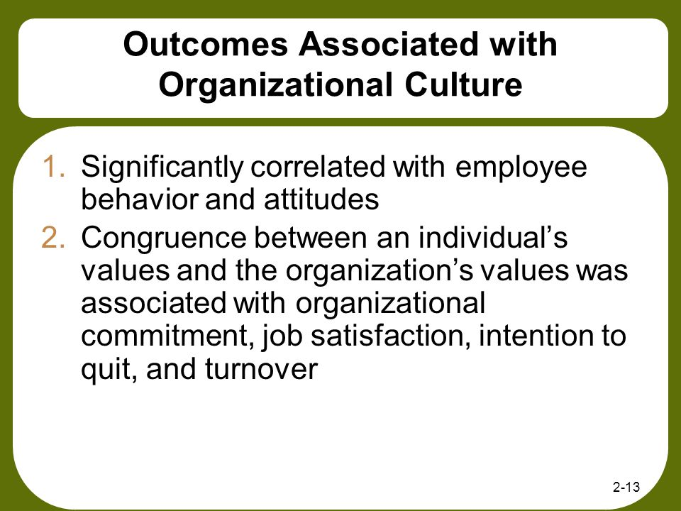 Outcomes Associated with Organizational Culture