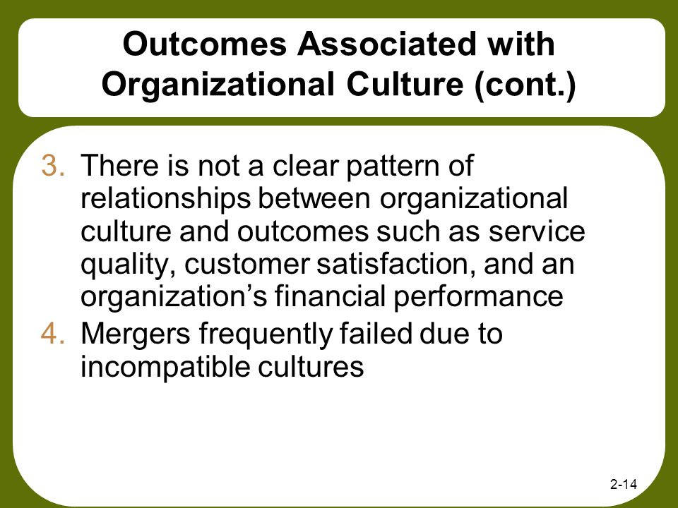 Outcomes Associated with Organizational Culture (cont.)