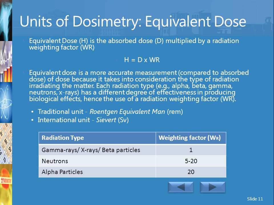 Units of Dosimetry: Equivalent Dose