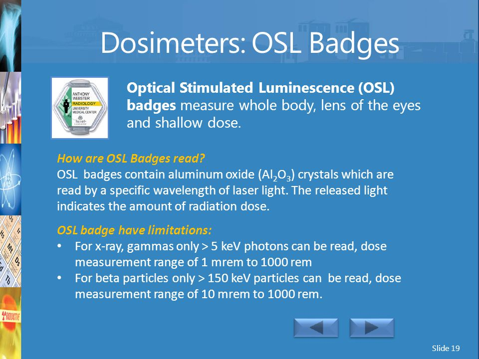 Dosimeters: OSL Badges