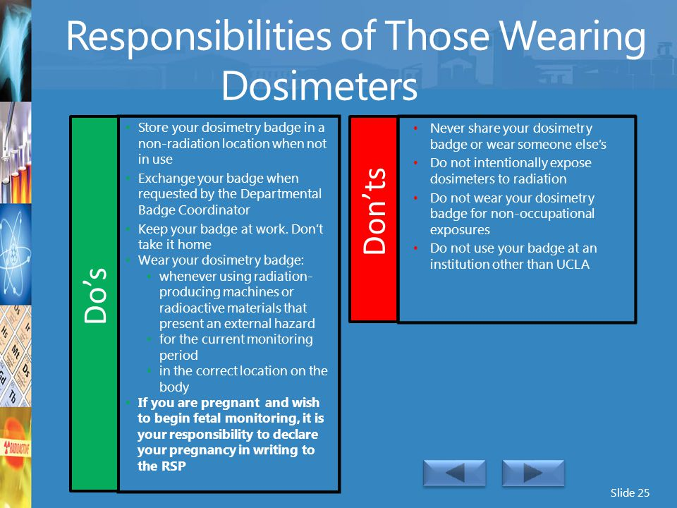 Responsibilities of Those Wearing Dosimeters