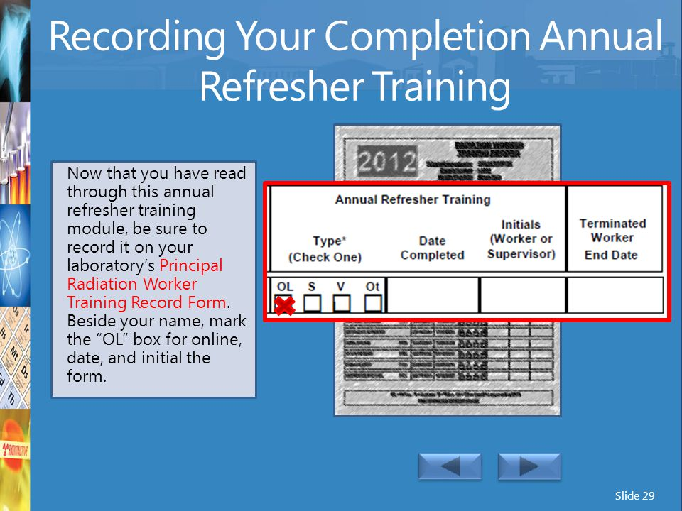 Recording Your Completion Annual Refresher Training