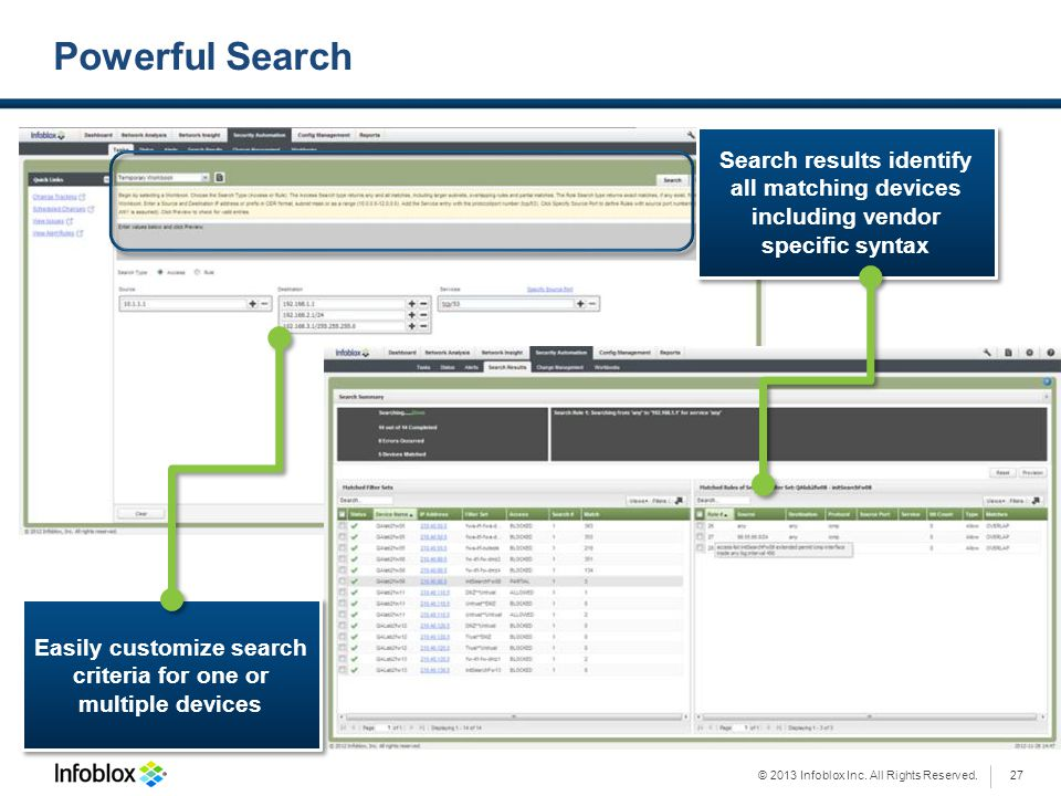 Easily customize search criteria for one or multiple devices