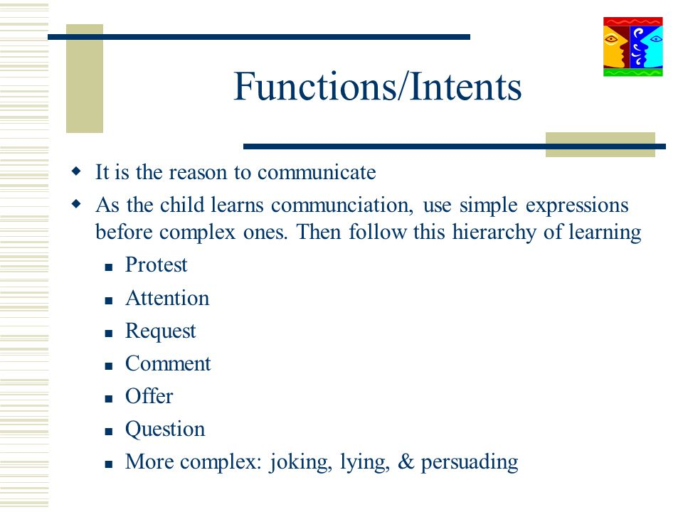Functions/Intents It is the reason to communicate