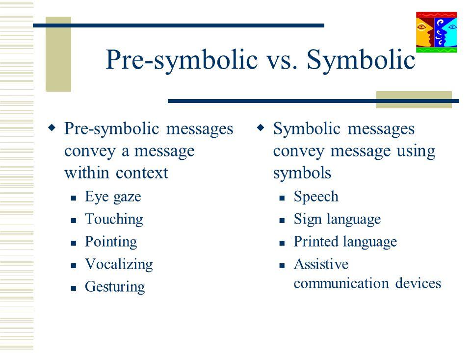Pre-symbolic vs. Symbolic