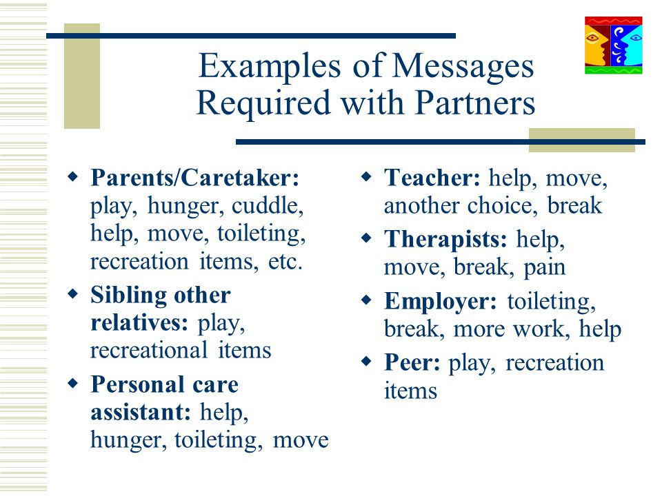 Examples of Messages Required with Partners