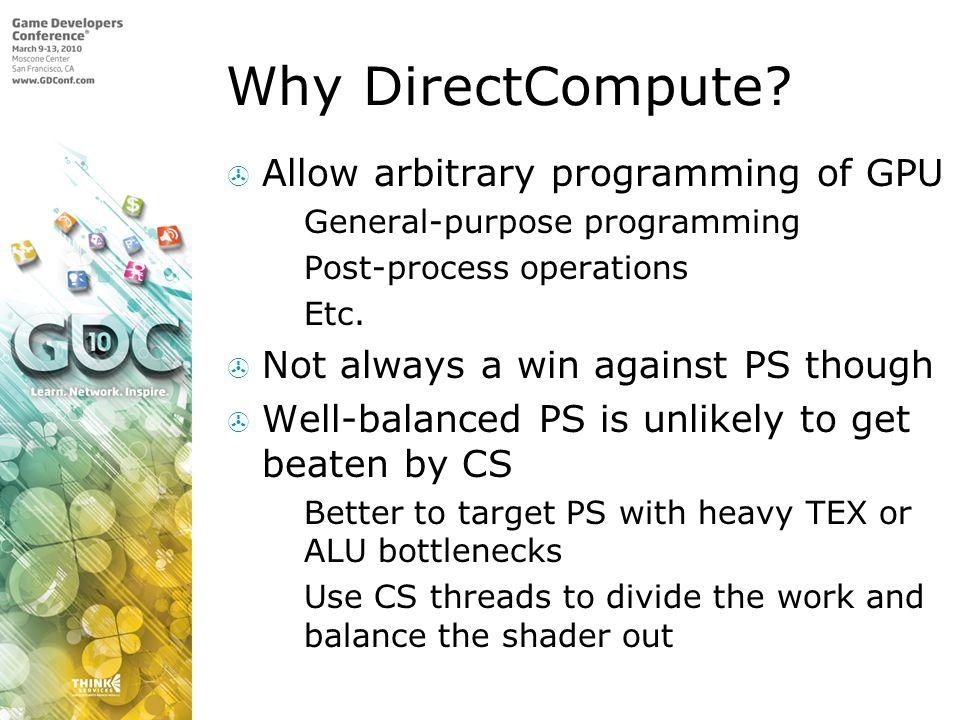 Why DirectCompute Allow arbitrary programming of GPU