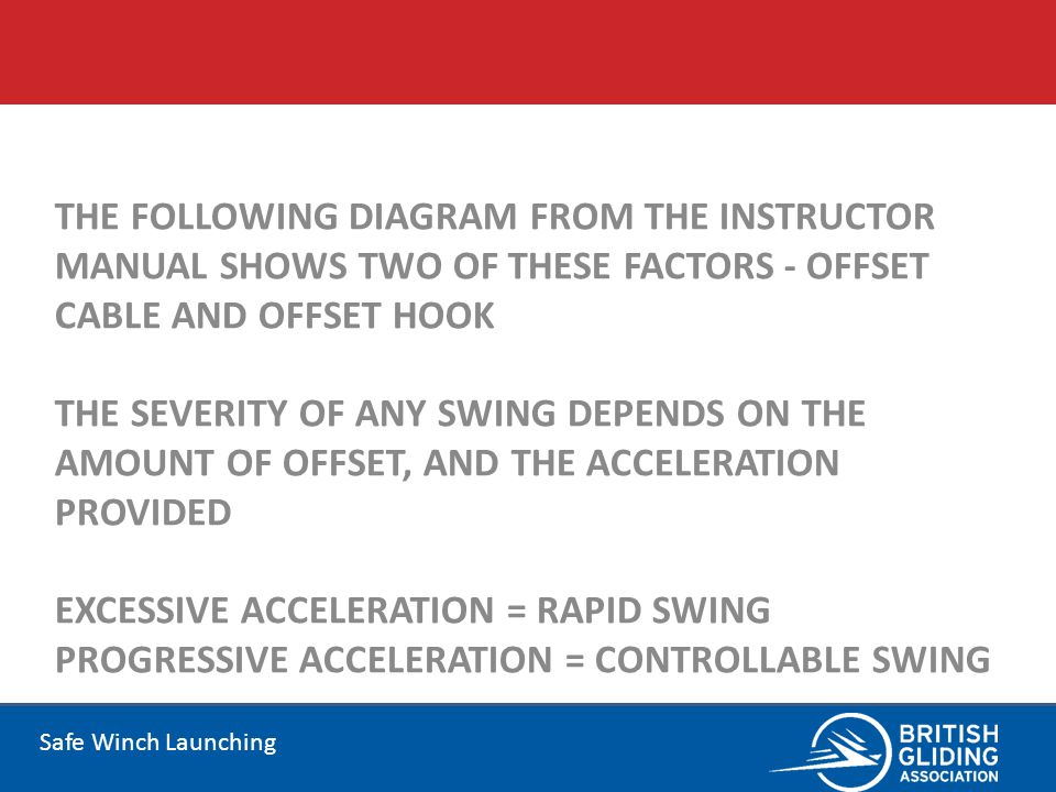 The following diagram from the Instructor Manual shows two of these factors - Offset Cable and Offset Hook The severity of any swing depends on the amount of offset, and the acceleration provided EXCESSIVE ACCELERATION = RAPID SWING PROGRESSIVE ACCELERATION = CONTROLLABLE SWING