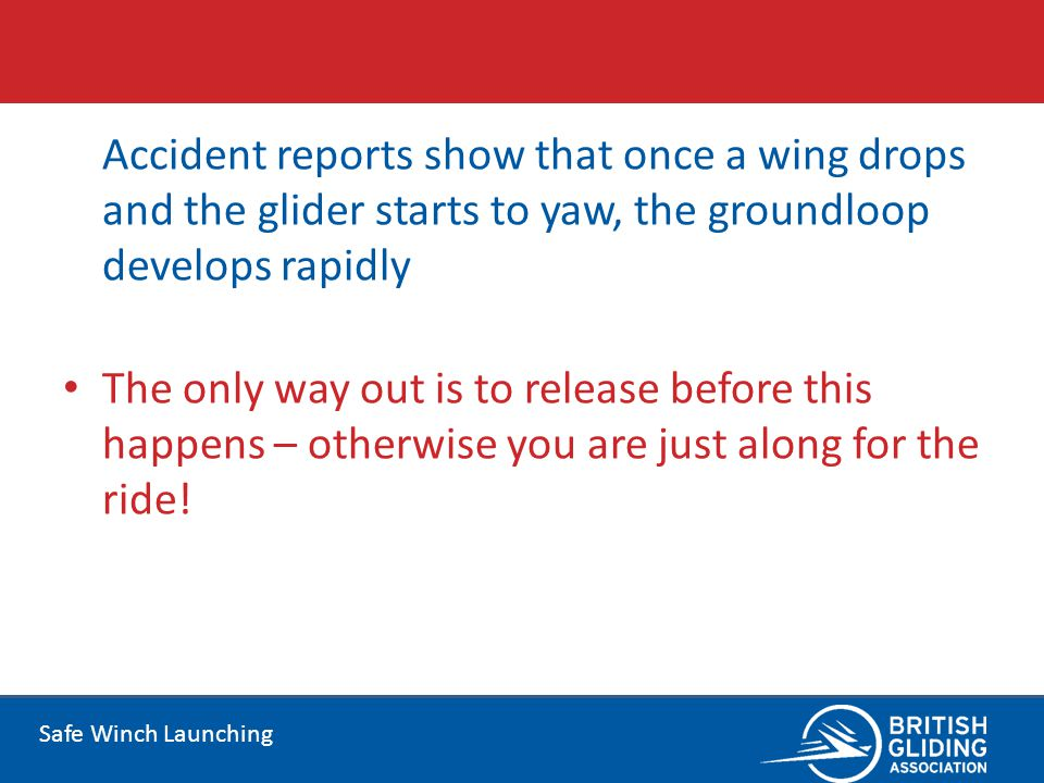 Accident reports show that once a wing drops and the glider starts to yaw, the groundloop develops rapidly