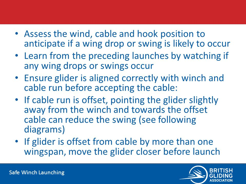 Assess the wind, cable and hook position to anticipate if a wing drop or swing is likely to occur
