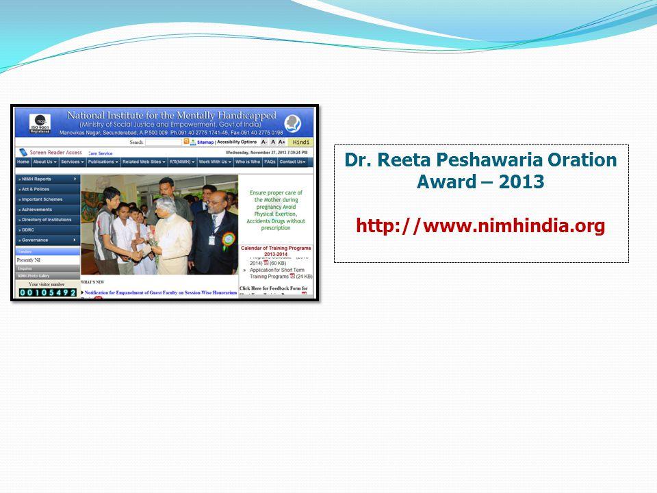 Dr. Reeta Peshawaria Oration