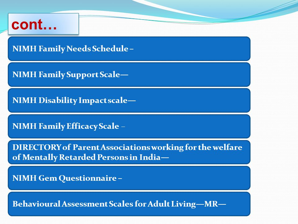 cont… NIMH Family Needs Schedule – NIMH Family Support Scale—