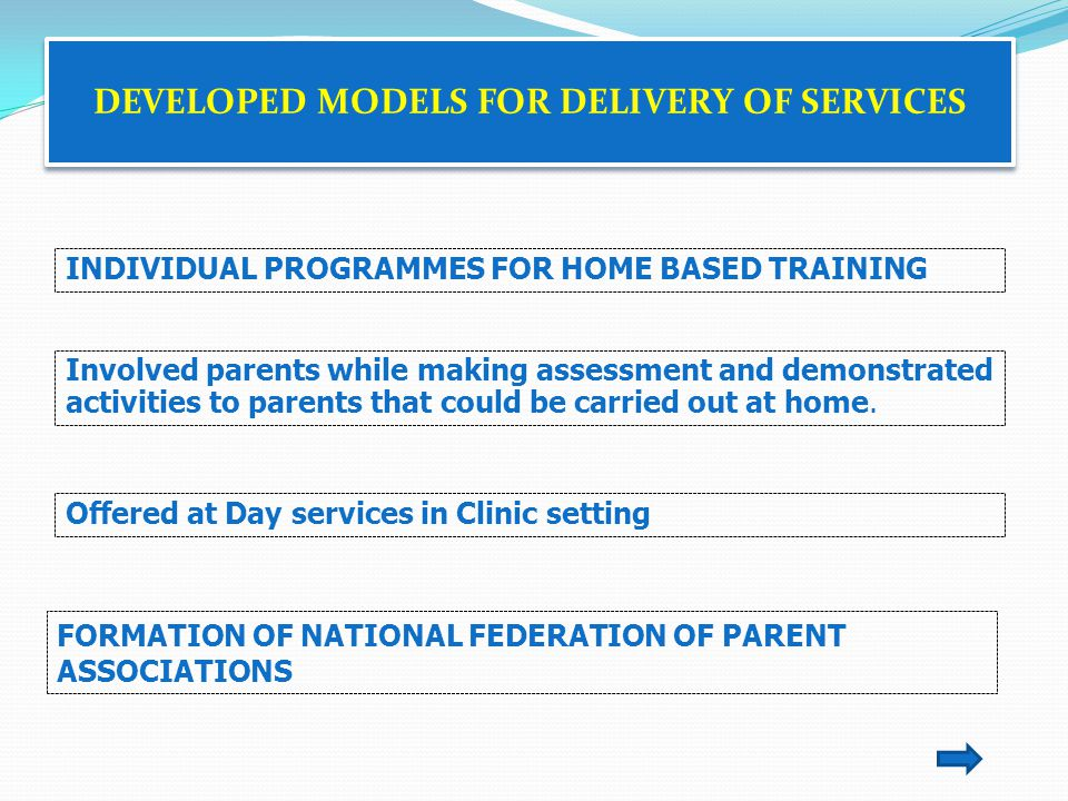 DEVELOPED MODELS FOR DELIVERY OF SERVICES