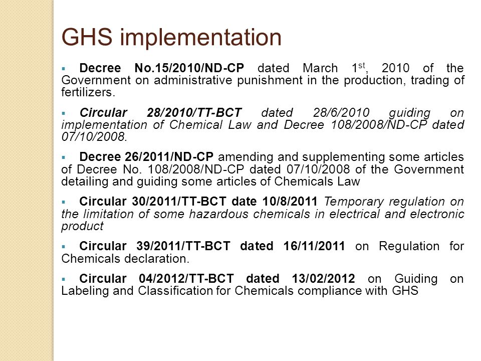 GHS implementation