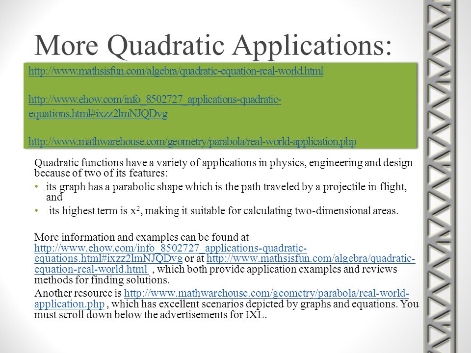 More Quadratic Applications: