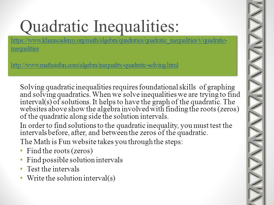 Quadratic Inequalities: