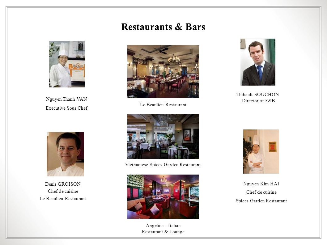 Restaurants & Bars Thibault SOUCHON Director of F&B Nguyen Thanh VAN