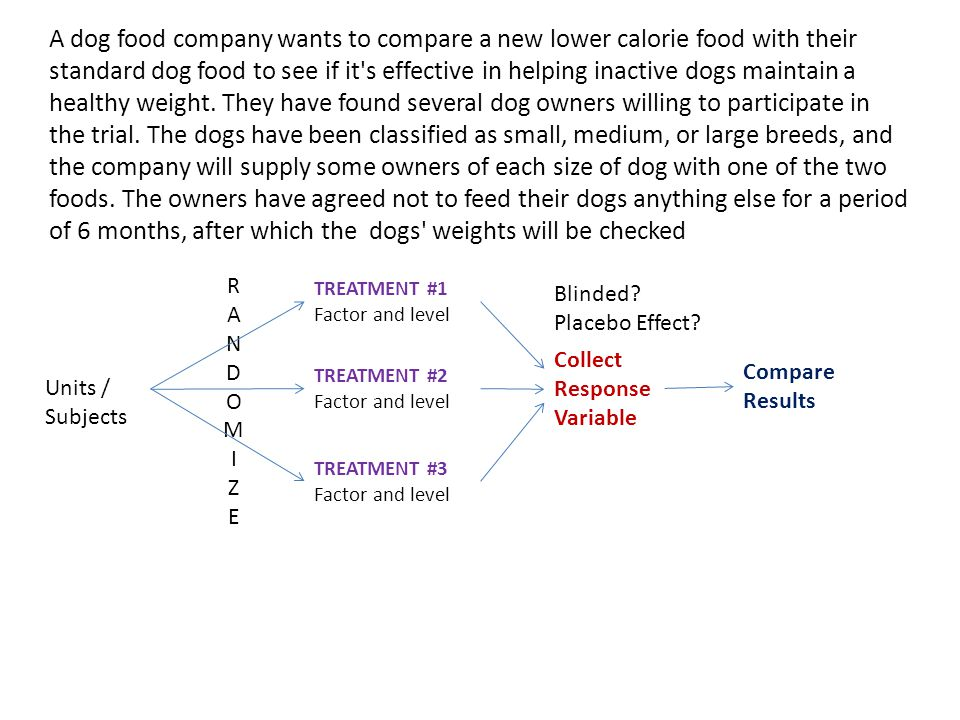 A dog food company wants to compare a new lower calorie food with their standard dog food to see if it s effective in helping inactive dogs maintain a healthy weight. They have found several dog owners willing to participate in the trial. The dogs have been classified as small, medium, or large breeds, and the company will supply some owners of each size of dog with one of the two foods. The owners have agreed not to feed their dogs anything else for a period of 6 months, after which the dogs weights will be checked