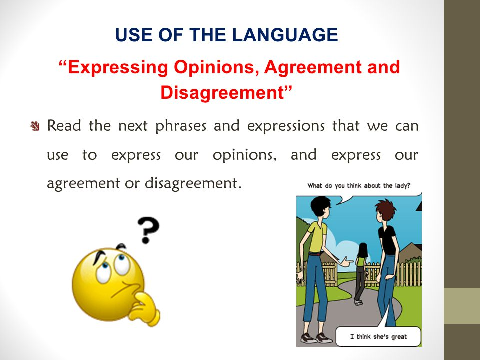 Expressing Opinions, Agreement and Disagreement