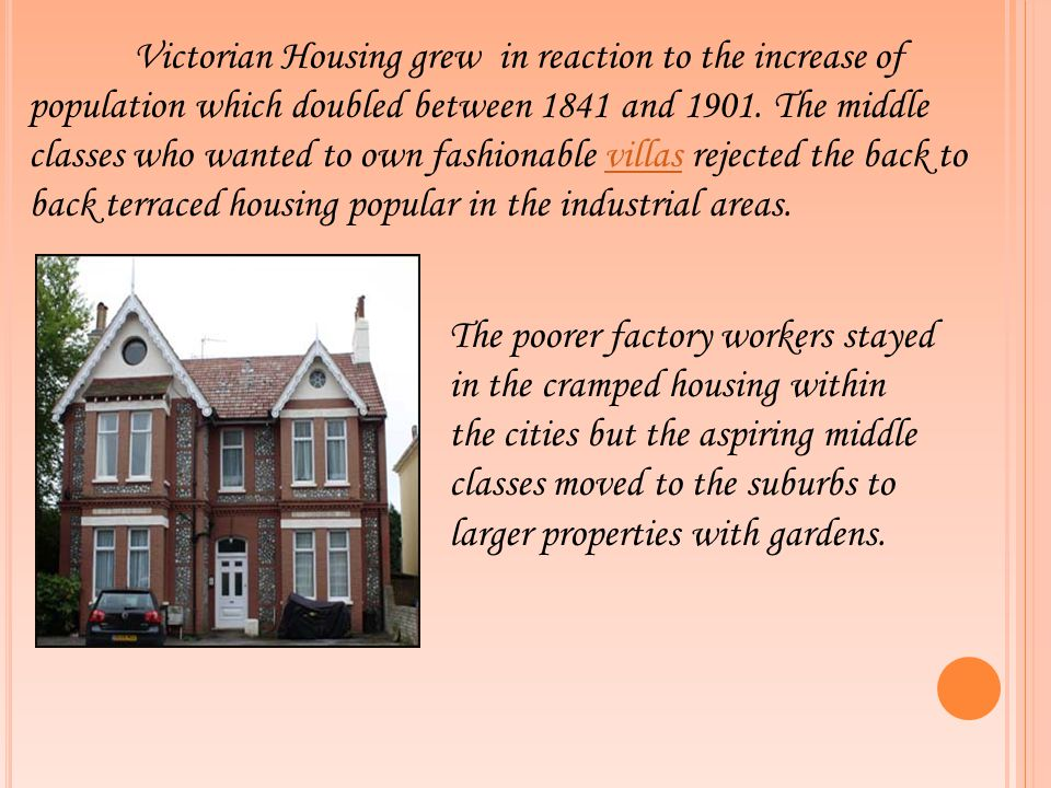 Victorian Housing grew in reaction to the increase of population which doubled between 1841 and 1901. The middle classes who wanted to own fashionable villas rejected the back to back terraced housing popular in the industrial areas.