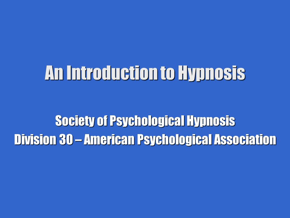 An Introduction to Hypnosis