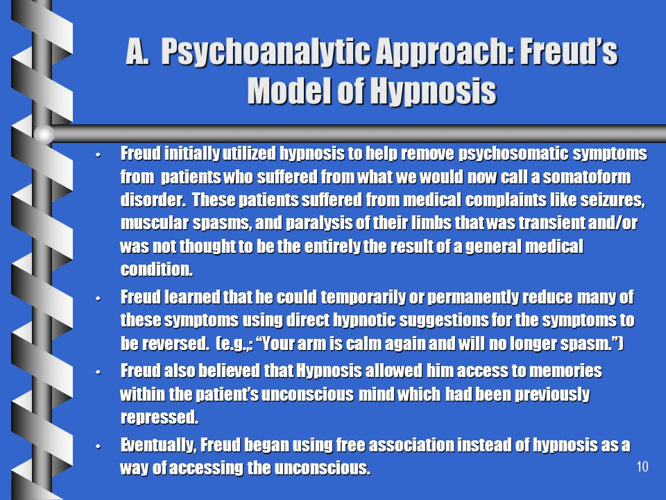 A. Psychoanalytic Approach: Freud's Model of Hypnosis
