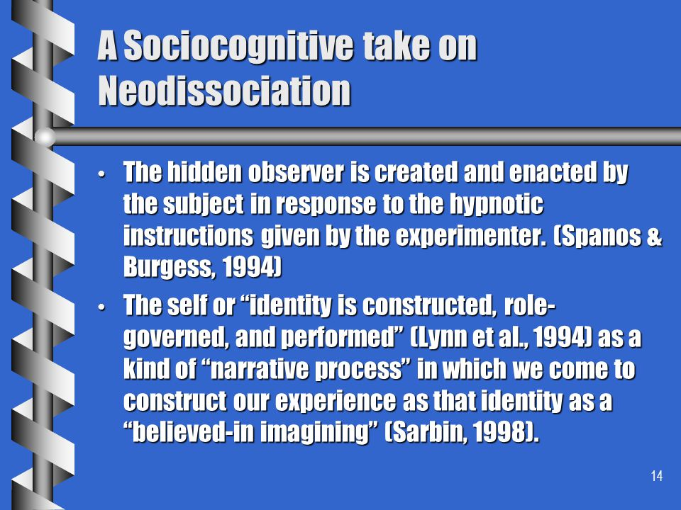 A Sociocognitive take on Neodissociation