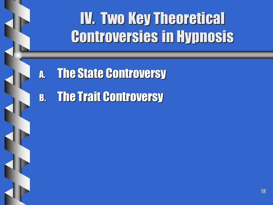 IV. Two Key Theoretical Controversies in Hypnosis